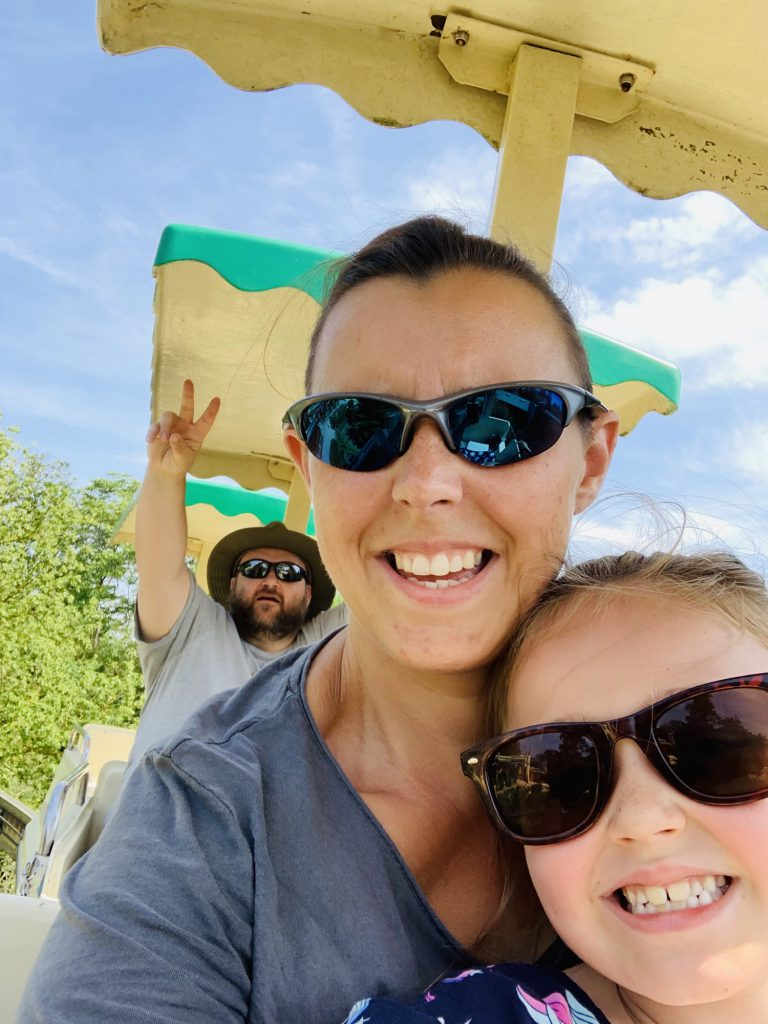 On the monorail at Touroparc Zoo