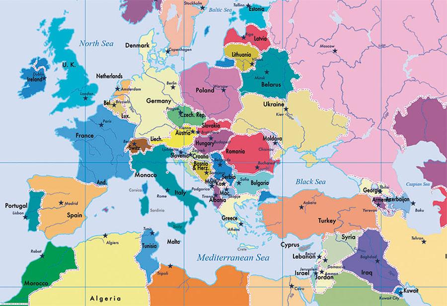 Colourful and fun world map wallpaper design