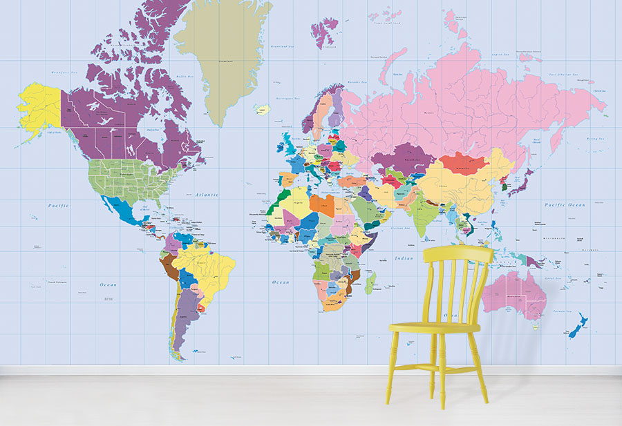Vibrant World Map Wallpaper Design