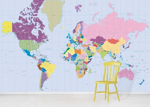 Colourful world map wallpaper design in situ with yellow chair