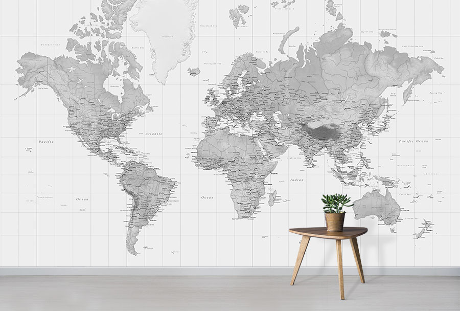 Black And White World Map Wallpaper Wall Mural In Situ With Small Table Plant