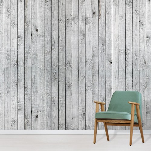 Silver White Wood Wallpaper Mural in situ with green comfy chair