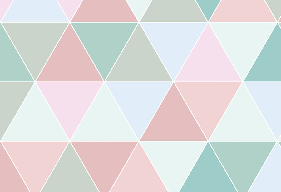 Pastel Coloured Triangles Wallpaper Wall Mural Design close-up view