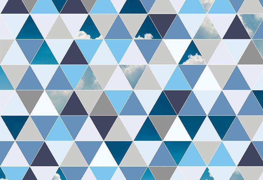 Geometric Blue Clouds Triangles Wallpaper Wall Mural