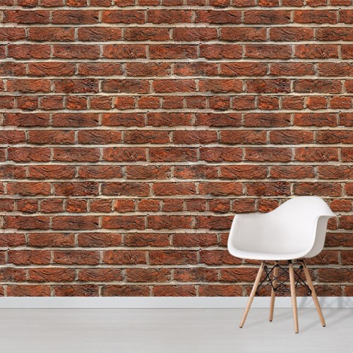 Old Red Brick effect wallpaper mural with white chair
