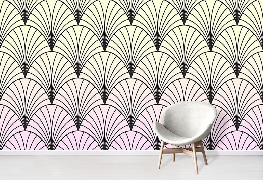 Sherbet Deco Shells Ombre Wallpaper Mural Design in situ with chair