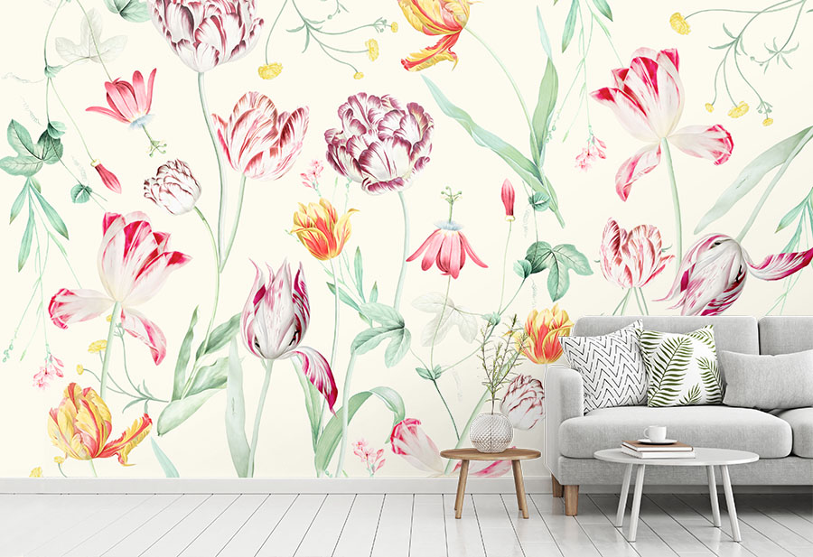Tulipina Flowers Wallpaper Wall Mural in situ with sofa and table