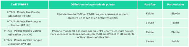 4 options tarifaires ou versions possibles pour les sites en HTA (tarifs verts)