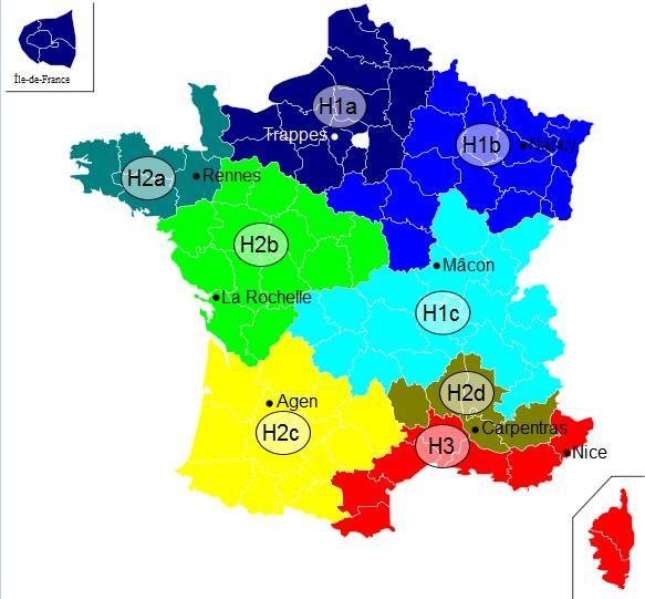 Répartition des zones climatiques en France