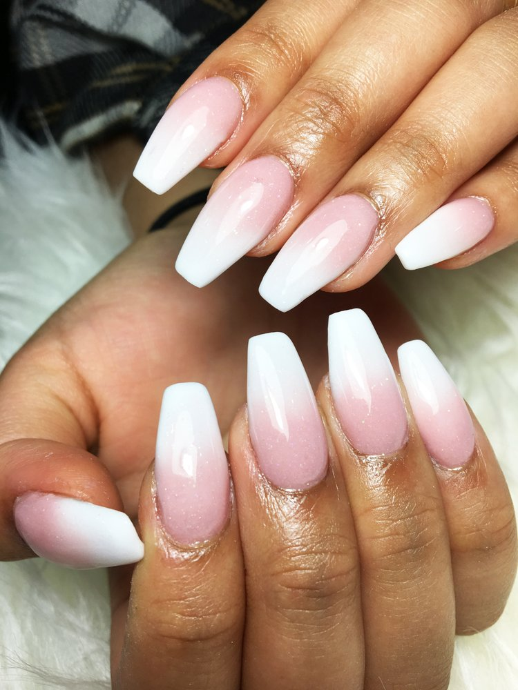 Ombre Pink And White : ombre, white, Ombre, White, Powder, Nails, Manicure, Trends
