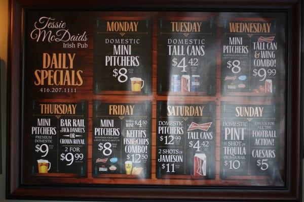 Tessie McDaid's Irish Pub Opening Times in Toronto, ON