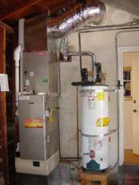 "Bryant ""Evolution"" high efficiency furnace mounted above a ..."