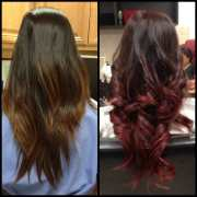 burgundy ombre and curls. yelp