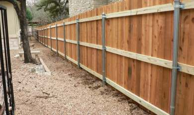 Wood Fence With Metal Support Post Wooden Thing