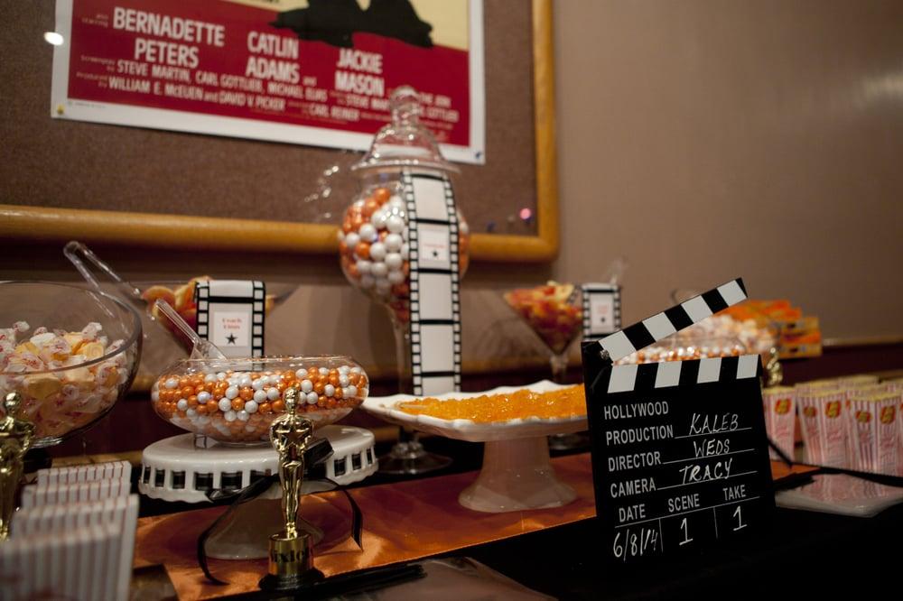 Movie themed Wedding in black  white and orange Venue