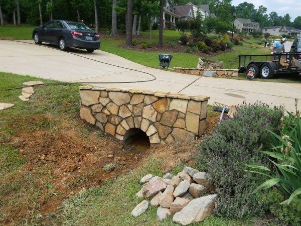 driveway culvert wall in stone