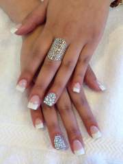 white tip acrylics with diamond