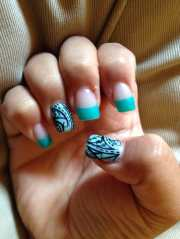 turquoise french tips with black
