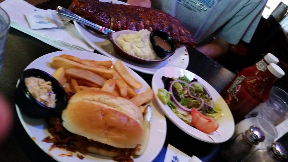 Full rack, bbq pork, fries, side salad
