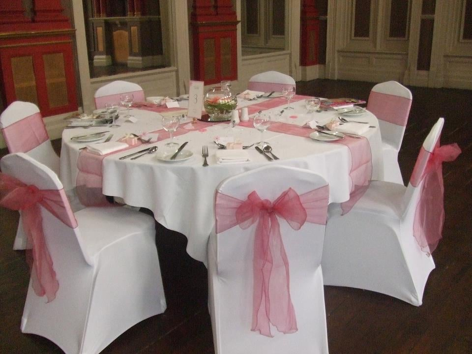 chair cover hire hartlepool black resin chairs nz white covers with dusky pink organza bows yelp photo of pretty wedding gift boutique headland united kingdom