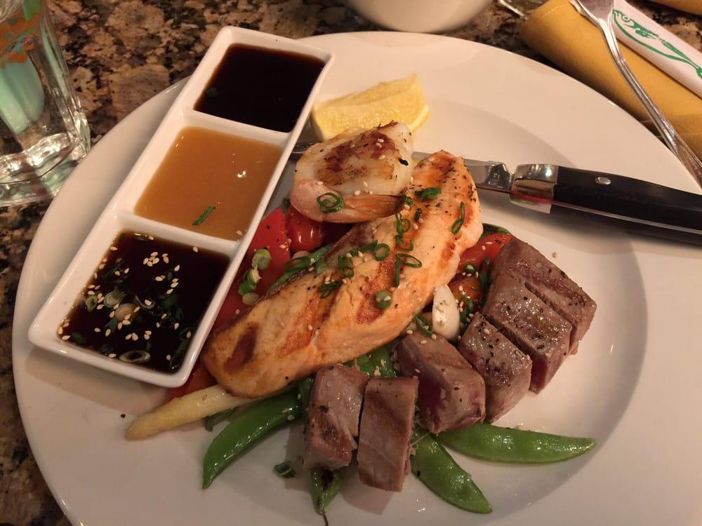 Seafood grill with rare tuna salmon shrimp and scallop