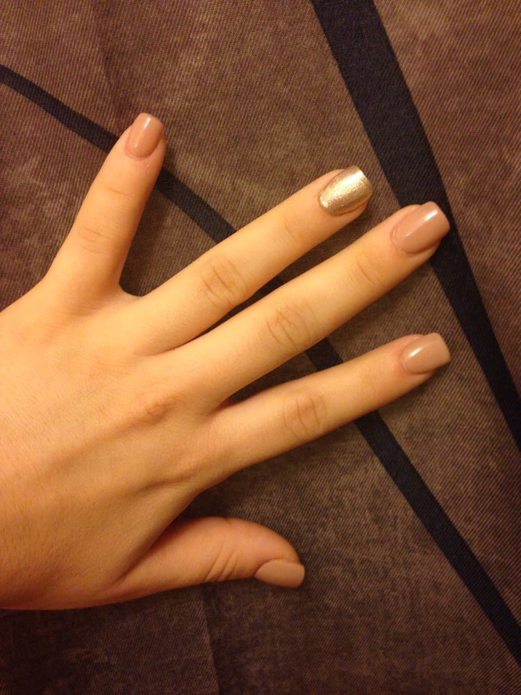 Nude gel nails with gold shiny polish  Yelp