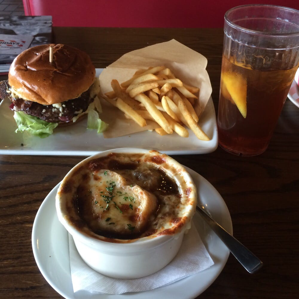 French onion soup and blue cheese crumble stack burger fries on the side and ice tea | Yelp