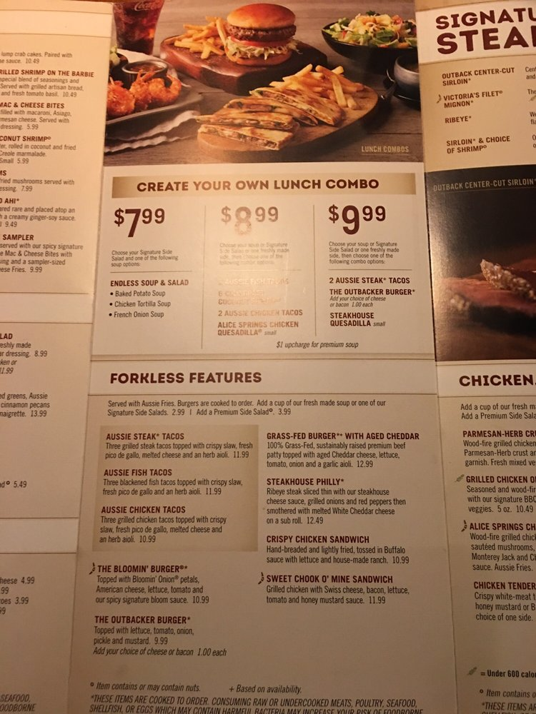 outback steakhouse lunch menu