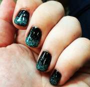 black and teal ombr nails