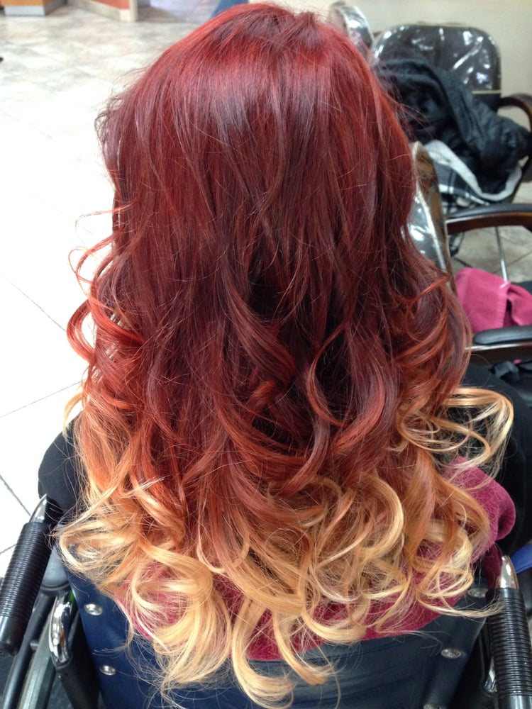 Our Client Wanted A Red Base With Blonde Ombr Ends After