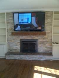 "58"" TV install above fireplace mantel - Yelp"