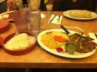 Carne asada. Horchata on the left side of my water ...
