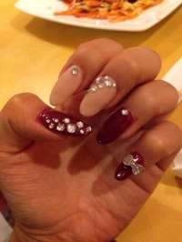 Cute nails with diamonds and bows - Yelp