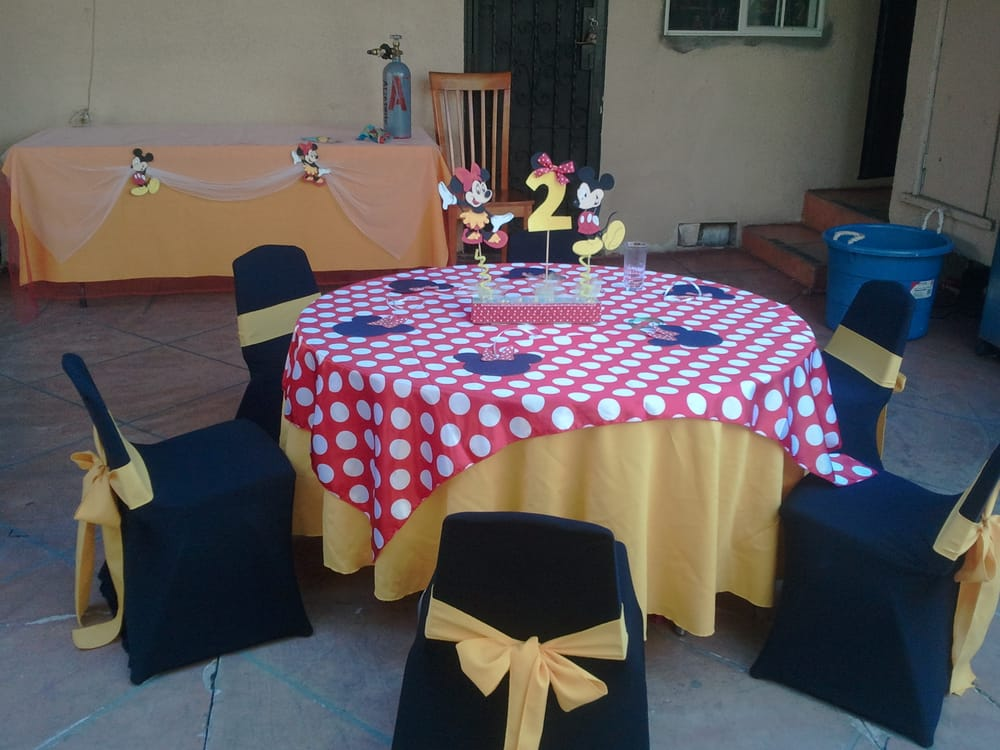 chair covers rental near me horse saddle office minnie mouse theme birthday party table set up decoration ideas, centerpieces, supplies, kids ...