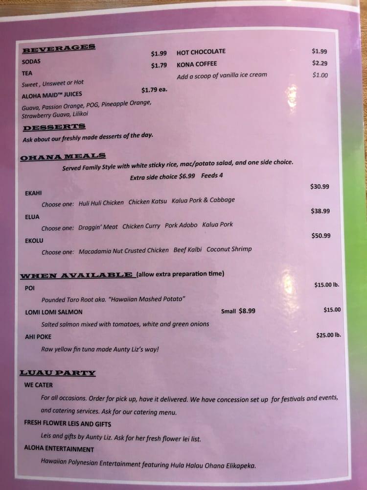 The menu for Aloha Kitchen  Yelp