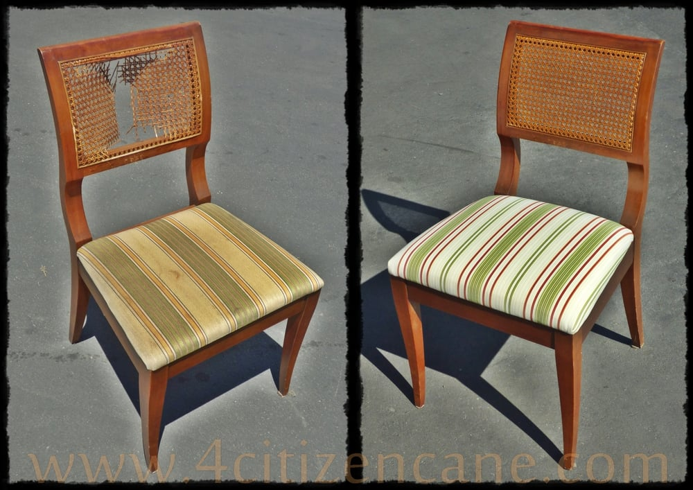how to replace cane back chair with fabric office base replacement mid century radio box weave we recaned and photo of citizen repair westminster ca united states