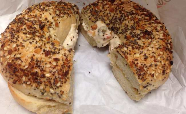 Toasted Everything Bagel With Veggie Cream Cheese Yelp