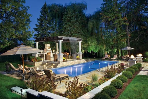 rectangle pool with arbor over