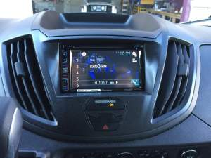Custom fabricated dash kit for a pioneer double din radio in 2016 Ford Transit connect van  Yelp