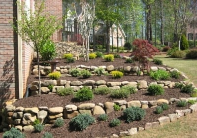 tiered landscaping with dry stacked