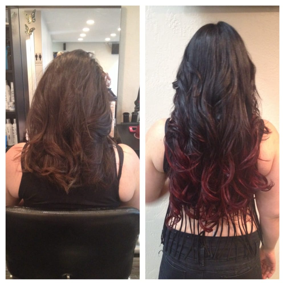 Before and after micro link hair extensions. ombré and style by Erin Dunaway - Yelp