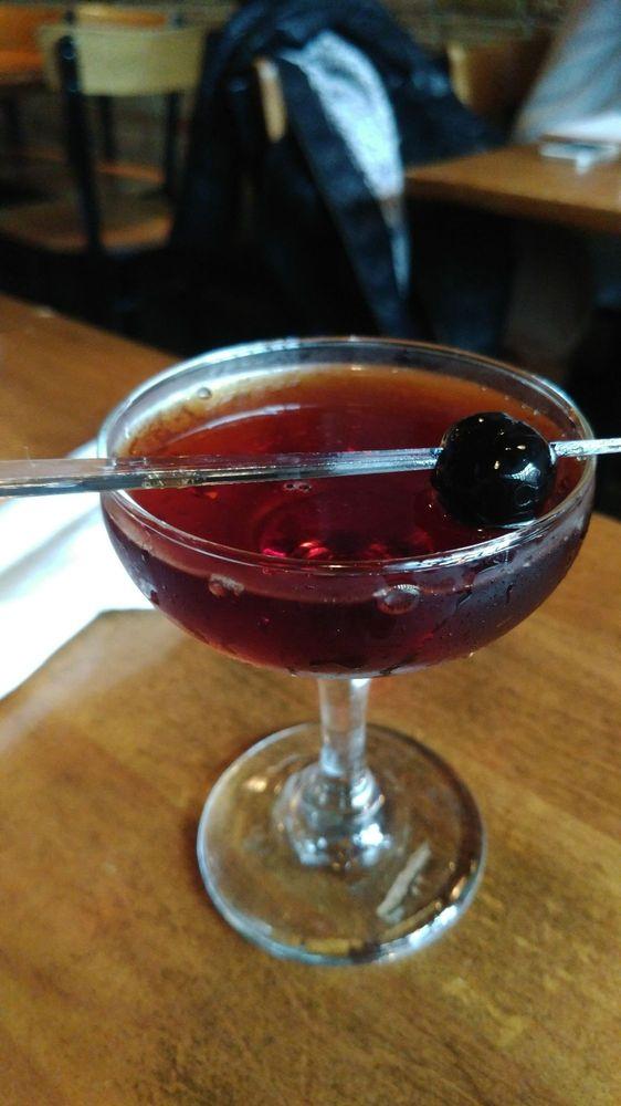 Five week cask aged Black Manhattan Woodford Reserve Bourbon Amaro Averna molasses bitters