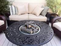 Tuscany fire pit with ceramic logs and propane burner