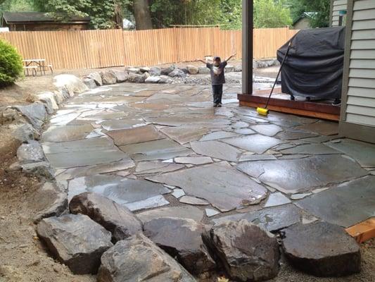 Flagstone patio installation  Yelp