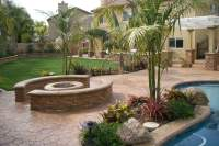 Beautiful Tropical Themed Yard with Gas Fire Pit with ...