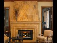 Desert Gold travertine fireplace surround | Yelp