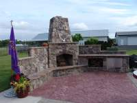outdoor fireplace, outdoor living, patio, landscaping ...