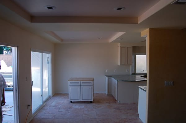 Family / Dining area. Cathedral ceilings before, coffered