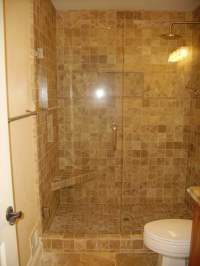 Stone Tile Shower With Corner Seat   Yelp