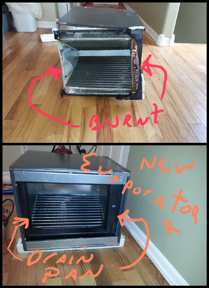 Replaced Old Evaporator Coil And Drain Pan The Furnace